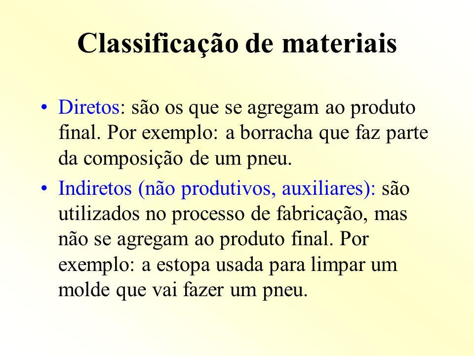 Classificação de materiais Diretos: são os que se agregam ao produto final. Por exemplo: a borracha que faz parte da composição de um pneu. Indiretos