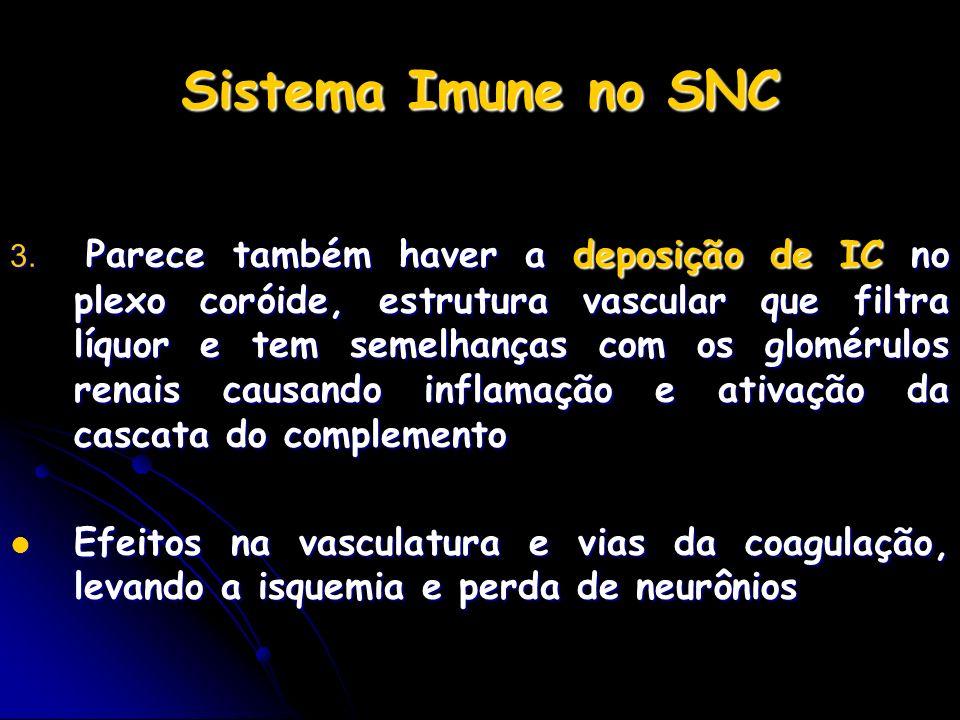 Sistema Imune no SNC 3. Parece também haver a deposição de IC no plexo coróide, estrutura vascular que filtra líquor e tem semelhanças com os glomérul