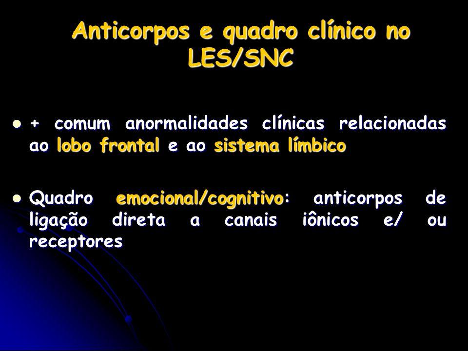 Anticorpos e quadro clínico no LES/SNC + comum anormalidades clínicas relacionadas ao lobo frontal e ao sistema límbico + comum anormalidades clínicas