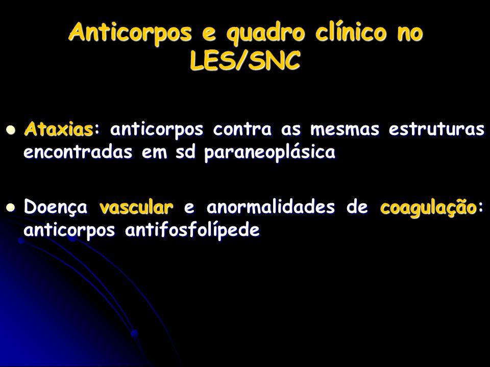 Anticorpos e quadro clínico no LES/SNC Ataxias: anticorpos contra as mesmas estruturas encontradas em sd paraneoplásica Ataxias: anticorpos contra as