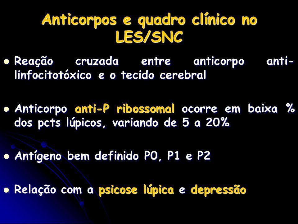 Anticorpos e quadro clínico no LES/SNC Reação cruzada entre anticorpo anti- linfocitotóxico e o tecido cerebral Reação cruzada entre anticorpo anti- l