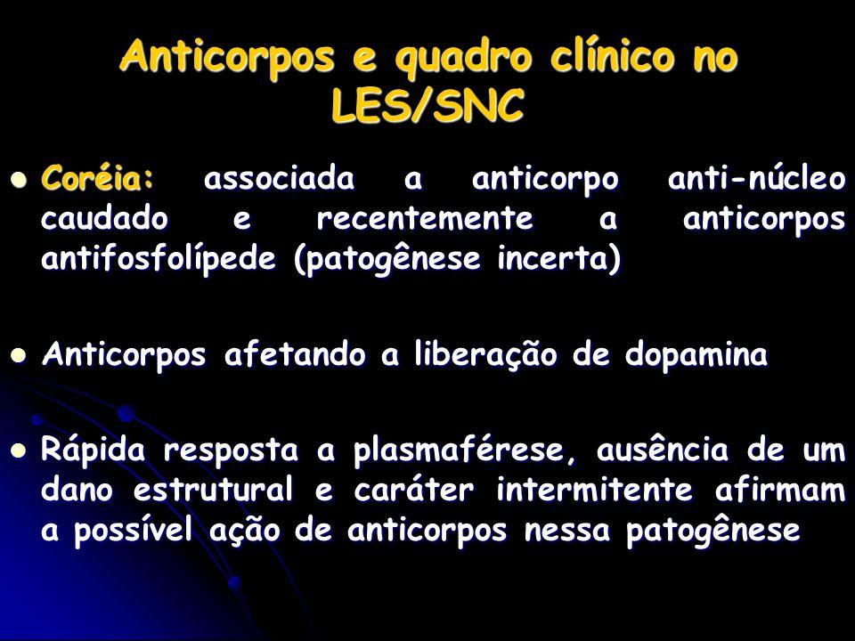 Anticorpos e quadro clínico no LES/SNC Coréia: associada a anticorpo anti-núcleo caudado e recentemente a anticorpos antifosfolípede (patogênese incer