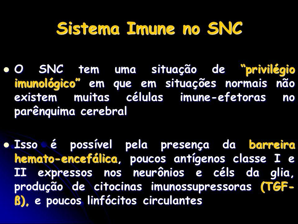 Sistema Imune no SNC O SNC tem uma situação de privilégio imunológico em que em situações normais não existem muitas células imune-efetoras no parênqu