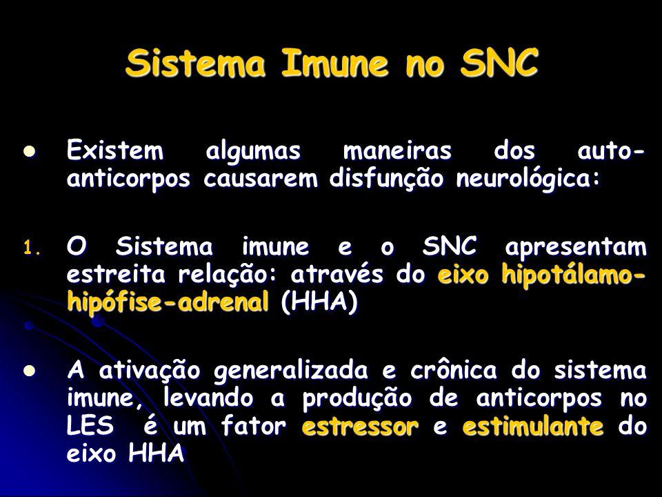 Sistema Imune no SNC Existem algumas maneiras dos auto- anticorpos causarem disfunção neurológica: Existem algumas maneiras dos auto- anticorpos causa