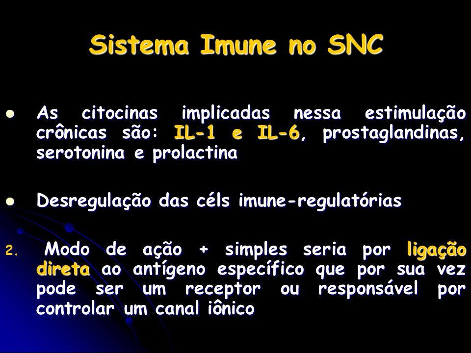 Sistema Imune no SNC As citocinas implicadas nessa estimulação crônicas são: IL-1 e IL-6, prostaglandinas, serotonina e prolactina As citocinas implic