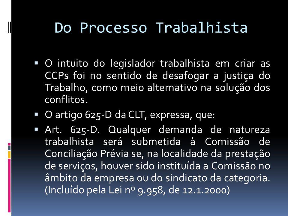 Do Processo Trabalhista O intuito do legislador trabalhista em criar as CCPs foi no sentido de desafogar a justiça do Trabalho, como meio alternativo