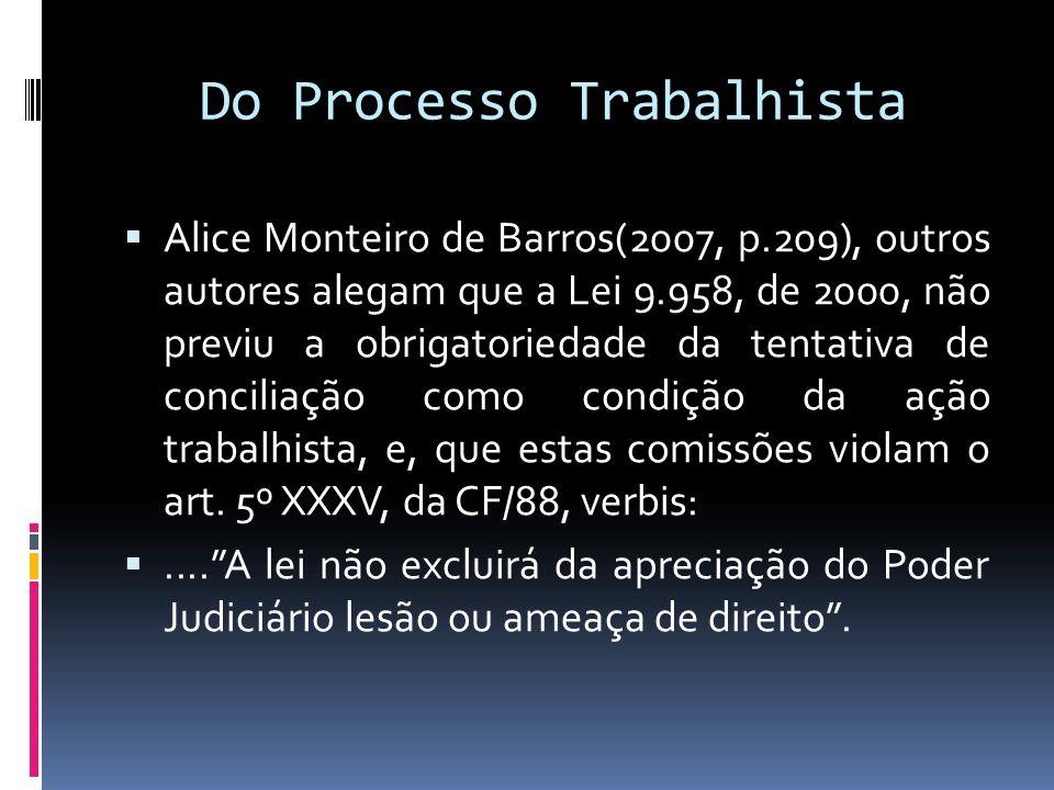 Do Processo Trabalhista Alice Monteiro de Barros(2007, p.209), outros autores alegam que a Lei 9.958, de 2000, não previu a obrigatoriedade da tentati