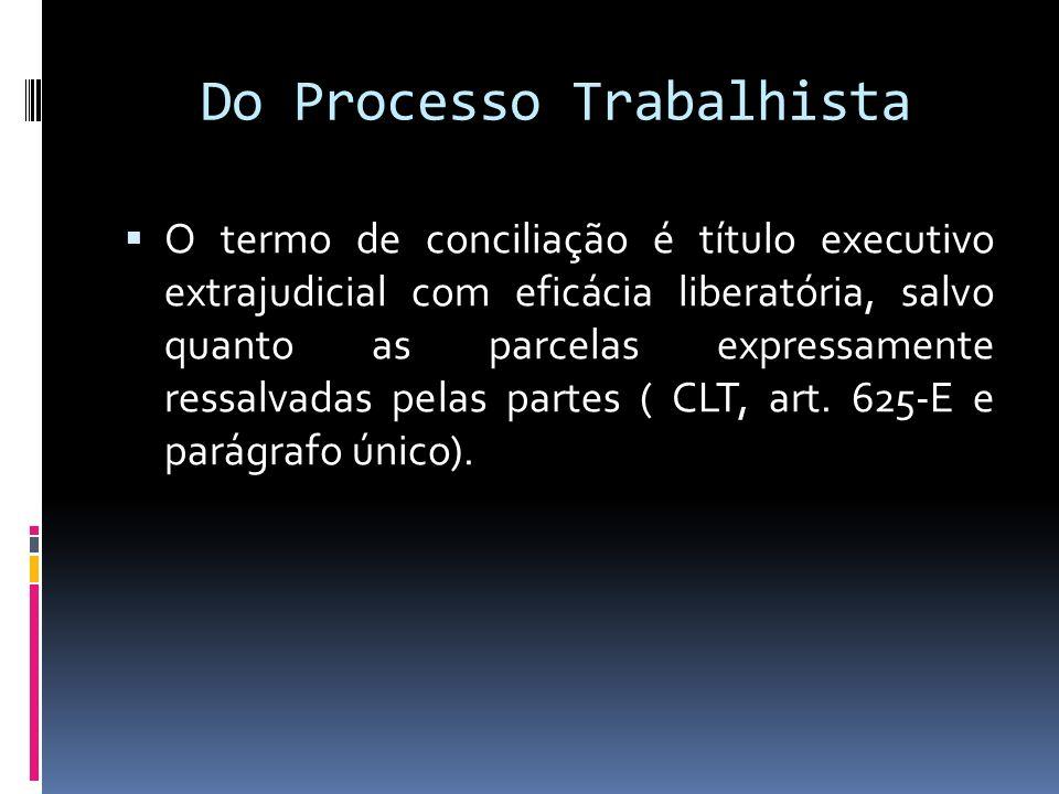Do Processo Trabalhista O termo de conciliação é título executivo extrajudicial com eficácia liberatória, salvo quanto as parcelas expressamente ressa
