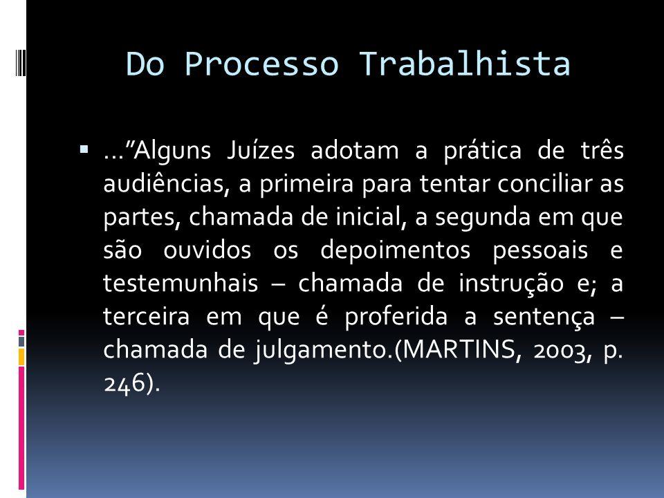 Do Processo Trabalhista...Alguns Juízes adotam a prática de três audiências, a primeira para tentar conciliar as partes, chamada de inicial, a segunda
