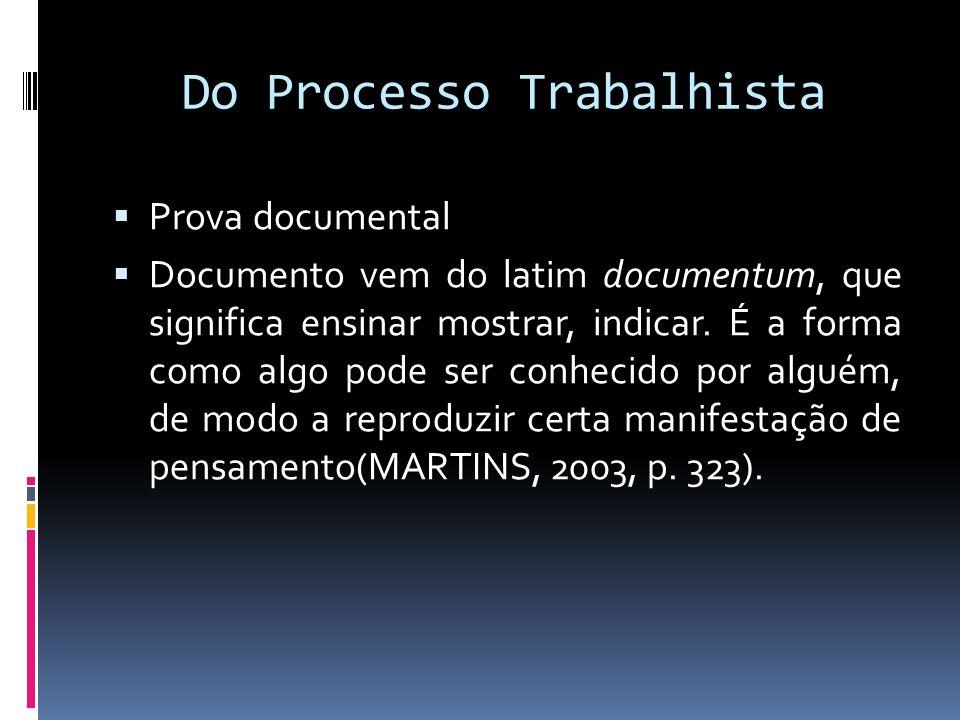 Do Processo Trabalhista Prova documental Documento vem do latim documentum, que significa ensinar mostrar, indicar. É a forma como algo pode ser conhe