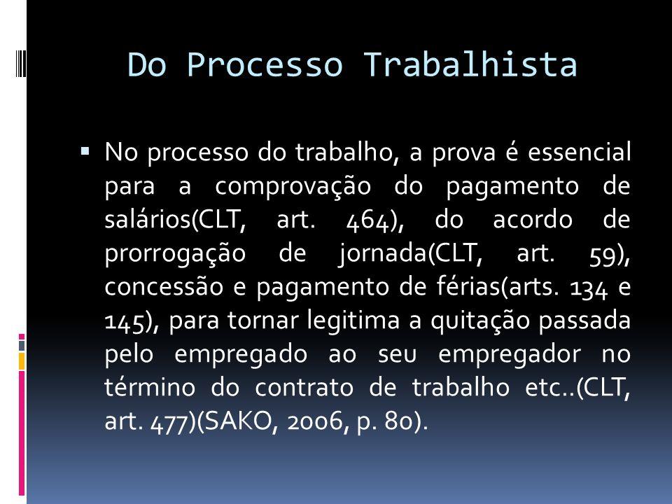 Do Processo Trabalhista No processo do trabalho, a prova é essencial para a comprovação do pagamento de salários(CLT, art. 464), do acordo de prorroga