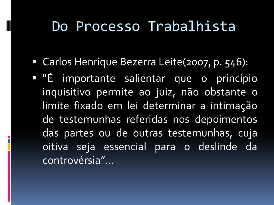 Do Processo Trabalhista Carlos Henrique Bezerra Leite(2007, p. 546): É importante salientar que o princípio inquisitivo permite ao juiz, não obstante