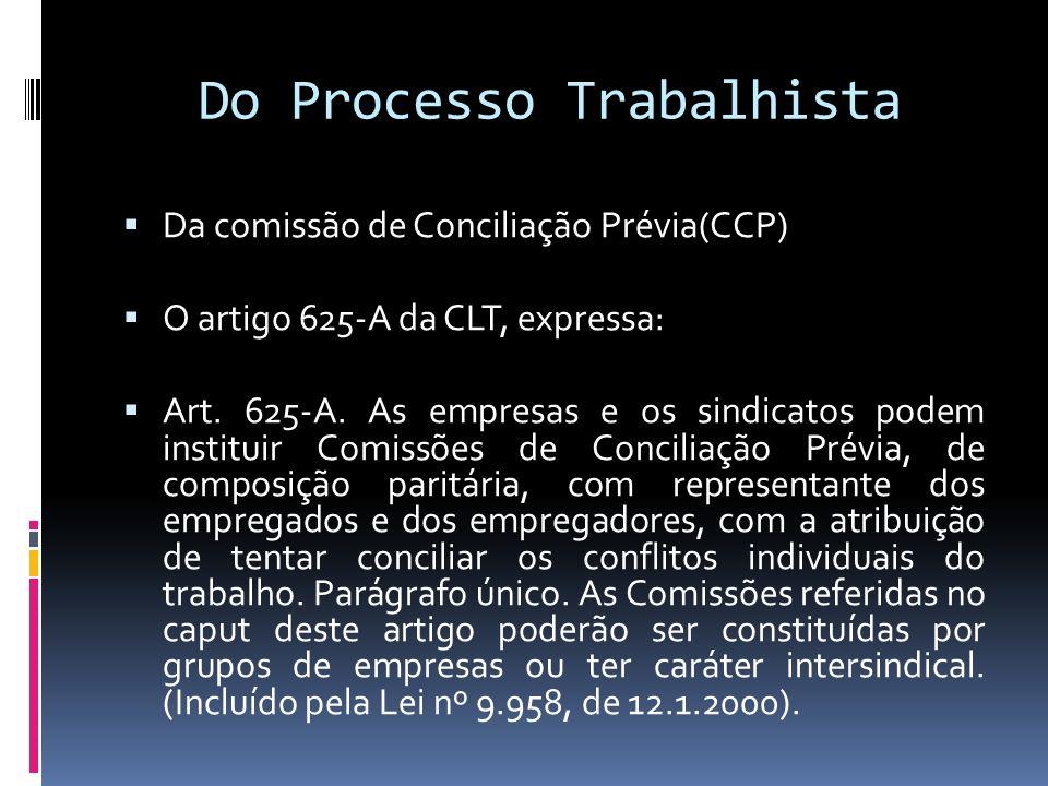 Do Processo Trabalhista Da comissão de Conciliação Prévia(CCP) O artigo 625-A da CLT, expressa: Art. 625-A. As empresas e os sindicatos podem institui