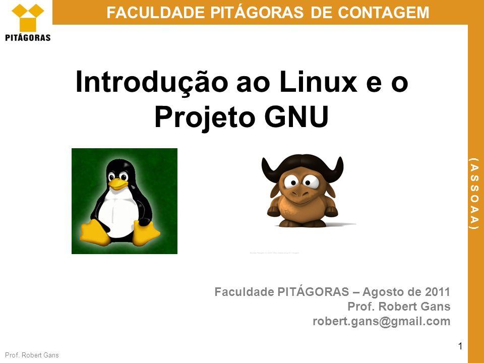 Prof. Robert Gans 1 FACULDADE PITÁGORAS DE CONTAGEM ( A S S O A A ) Introdução ao Linux e o Projeto GNU Faculdade PITÁGORAS – Agosto de 2011 Prof. Rob