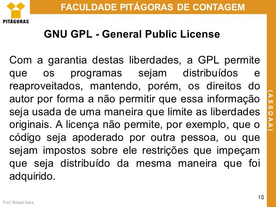 Prof. Robert Gans 10 FACULDADE PITÁGORAS DE CONTAGEM ( A S S O A A ) GNU GPL - General Public License Com a garantia destas liberdades, a GPL permite