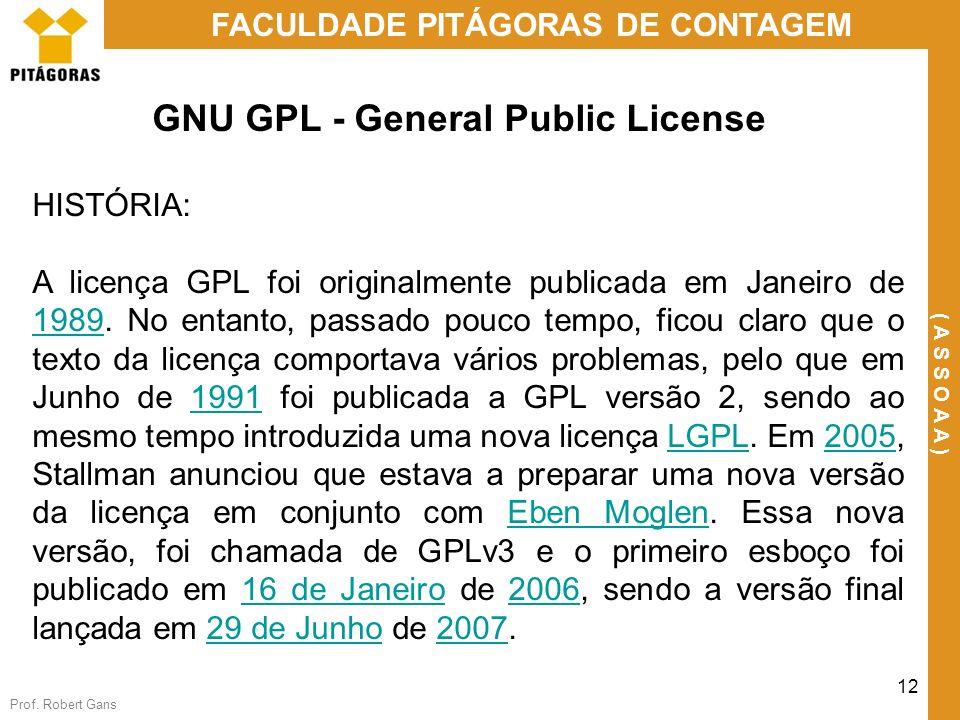 Prof. Robert Gans 12 FACULDADE PITÁGORAS DE CONTAGEM ( A S S O A A ) GNU GPL - General Public License HISTÓRIA: A licença GPL foi originalmente public