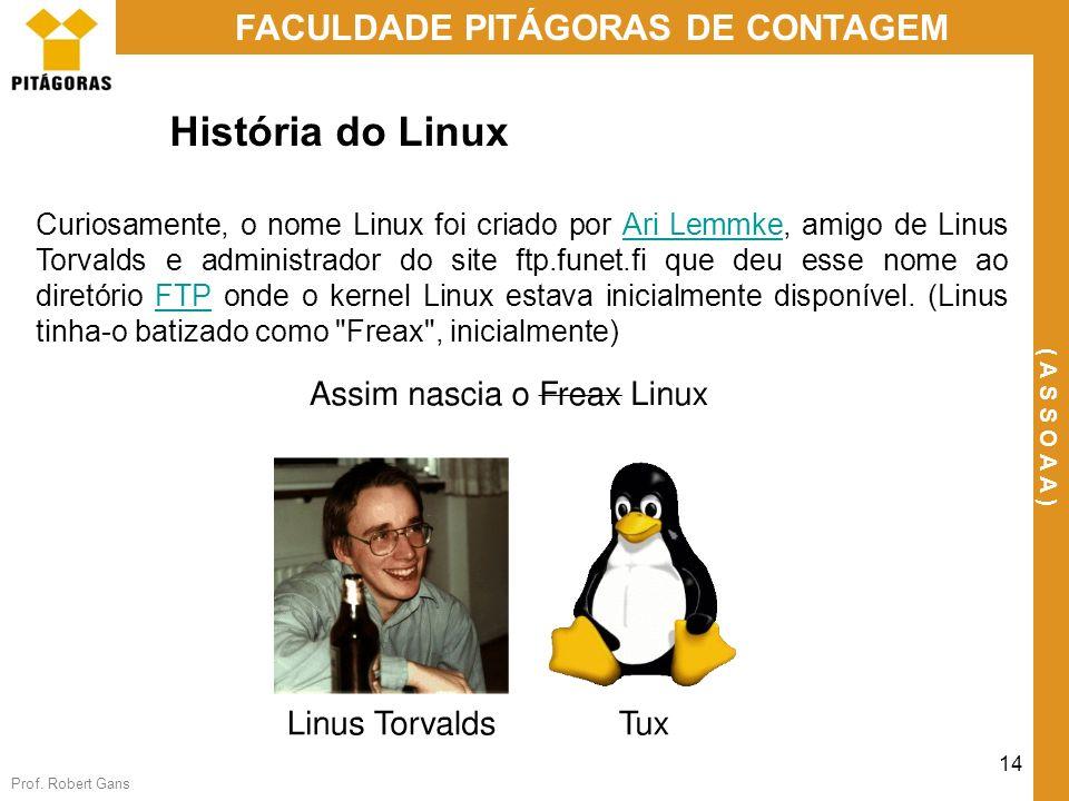 Prof. Robert Gans 14 FACULDADE PITÁGORAS DE CONTAGEM ( A S S O A A ) História do Linux Curiosamente, o nome Linux foi criado por Ari Lemmke, amigo de