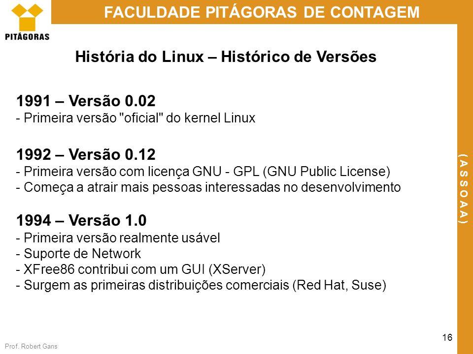 Prof. Robert Gans 16 FACULDADE PITÁGORAS DE CONTAGEM ( A S S O A A ) História do Linux – Histórico de Versões 1991 – Versão 0.02 - Primeira versão