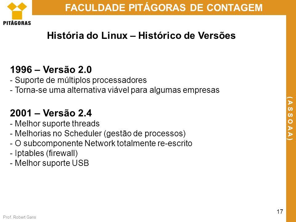 Prof. Robert Gans 17 FACULDADE PITÁGORAS DE CONTAGEM ( A S S O A A ) História do Linux – Histórico de Versões 1996 – Versão 2.0 - Suporte de múltiplos