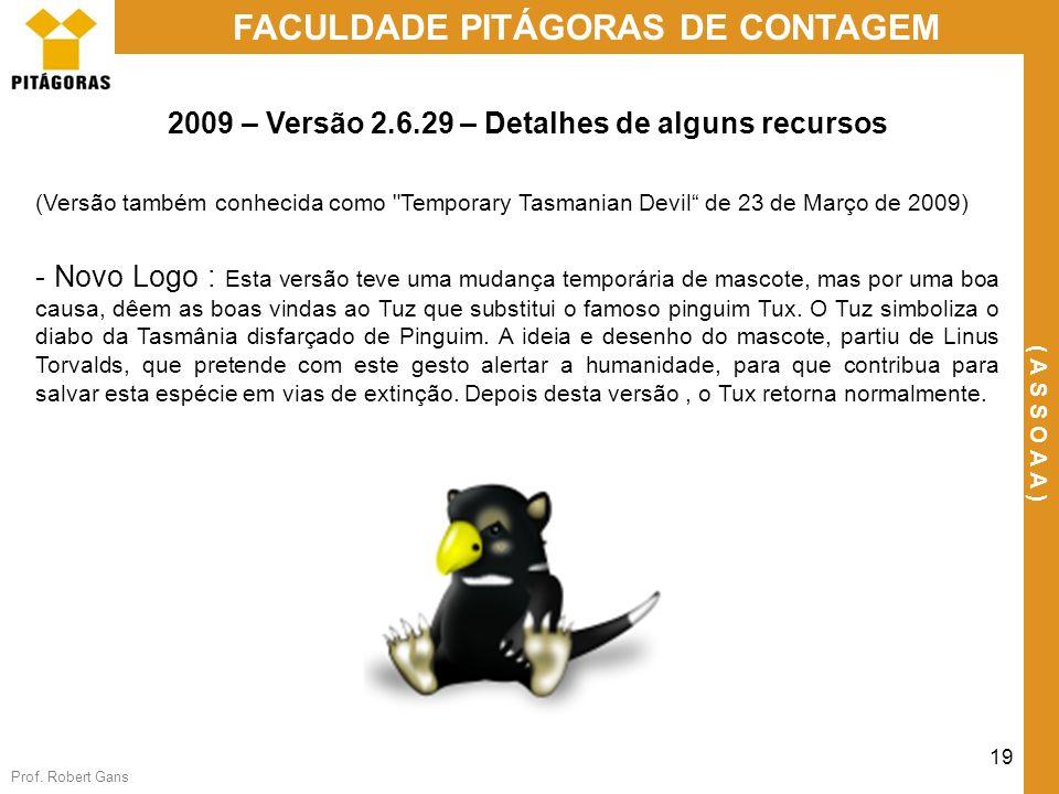 Prof. Robert Gans 19 FACULDADE PITÁGORAS DE CONTAGEM ( A S S O A A ) 2009 – Versão 2.6.29 – Detalhes de alguns recursos (Versão também conhecida como