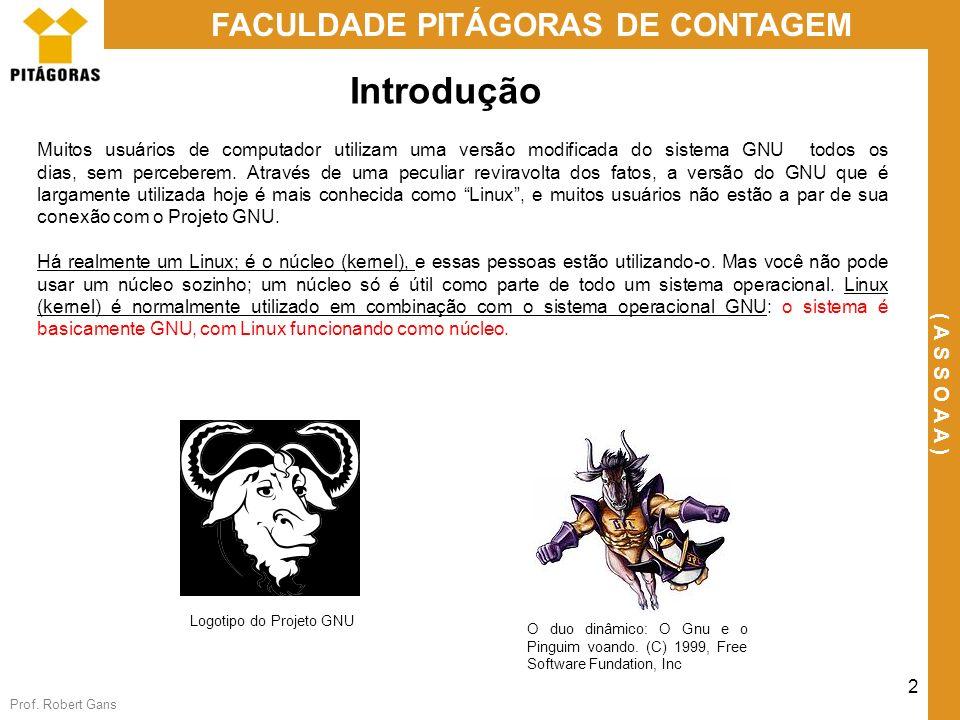 Prof. Robert Gans 2 FACULDADE PITÁGORAS DE CONTAGEM ( A S S O A A ) Muitos usuários de computador utilizam uma versão modificada do sistema GNU todos