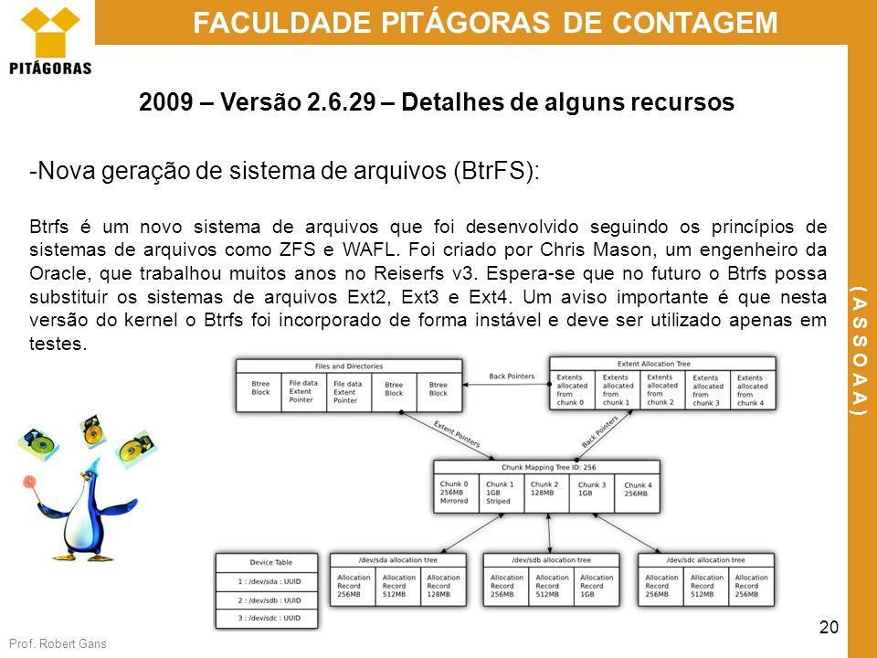 Prof. Robert Gans 20 FACULDADE PITÁGORAS DE CONTAGEM ( A S S O A A ) 2009 – Versão 2.6.29 – Detalhes de alguns recursos -Nova geração de sistema de ar