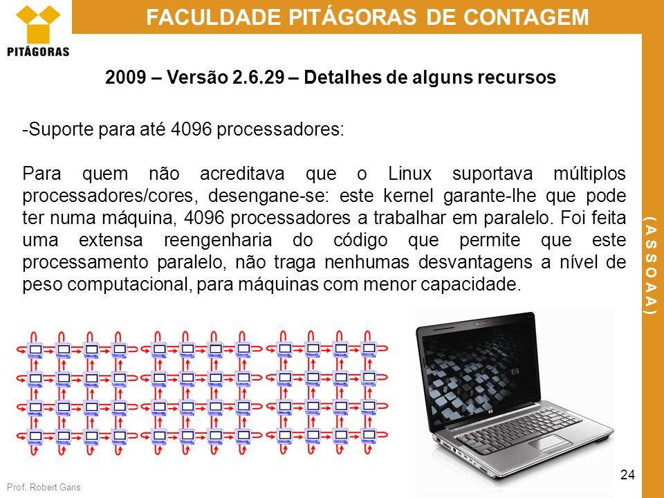 Prof. Robert Gans 24 FACULDADE PITÁGORAS DE CONTAGEM ( A S S O A A ) 2009 – Versão 2.6.29 – Detalhes de alguns recursos -Suporte para até 4096 process