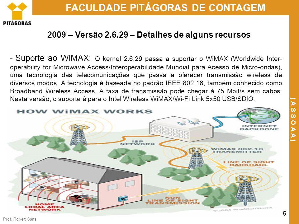 Prof. Robert Gans 25 FACULDADE PITÁGORAS DE CONTAGEM ( A S S O A A ) 2009 – Versão 2.6.29 – Detalhes de alguns recursos - Suporte ao WIMAX: O kernel 2
