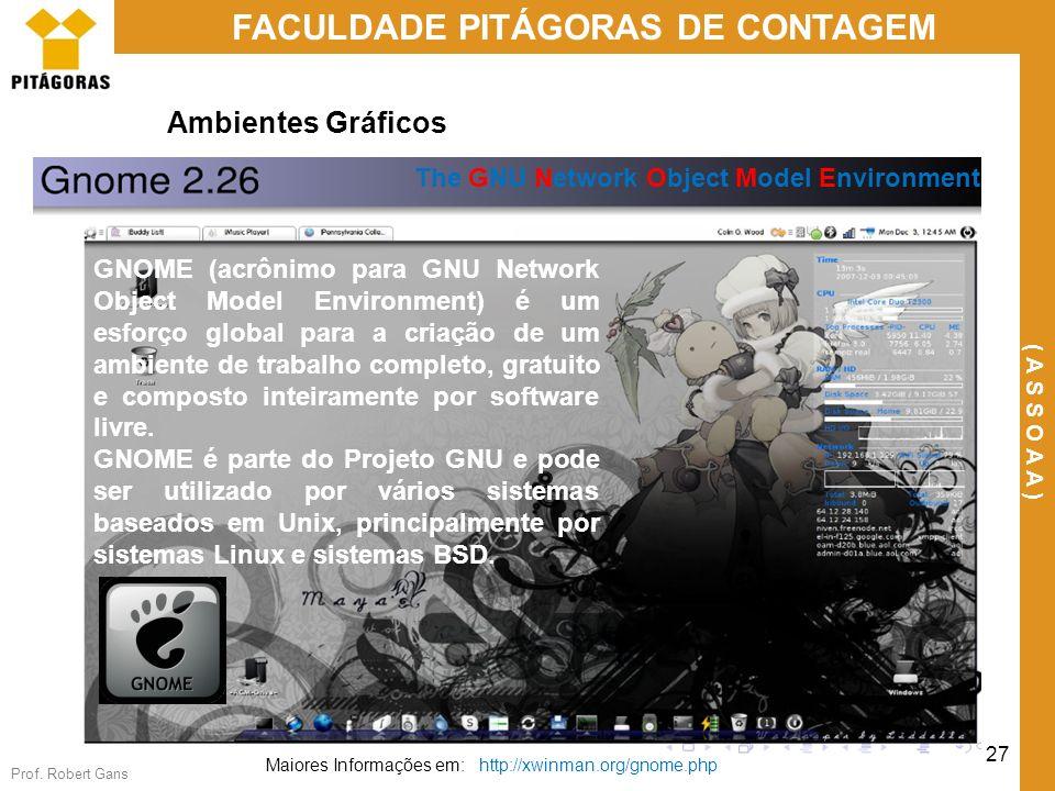 Prof. Robert Gans 27 FACULDADE PITÁGORAS DE CONTAGEM ( A S S O A A ) Ambientes Gráficos The GNU Network Object Model Environment Maiores Informações e