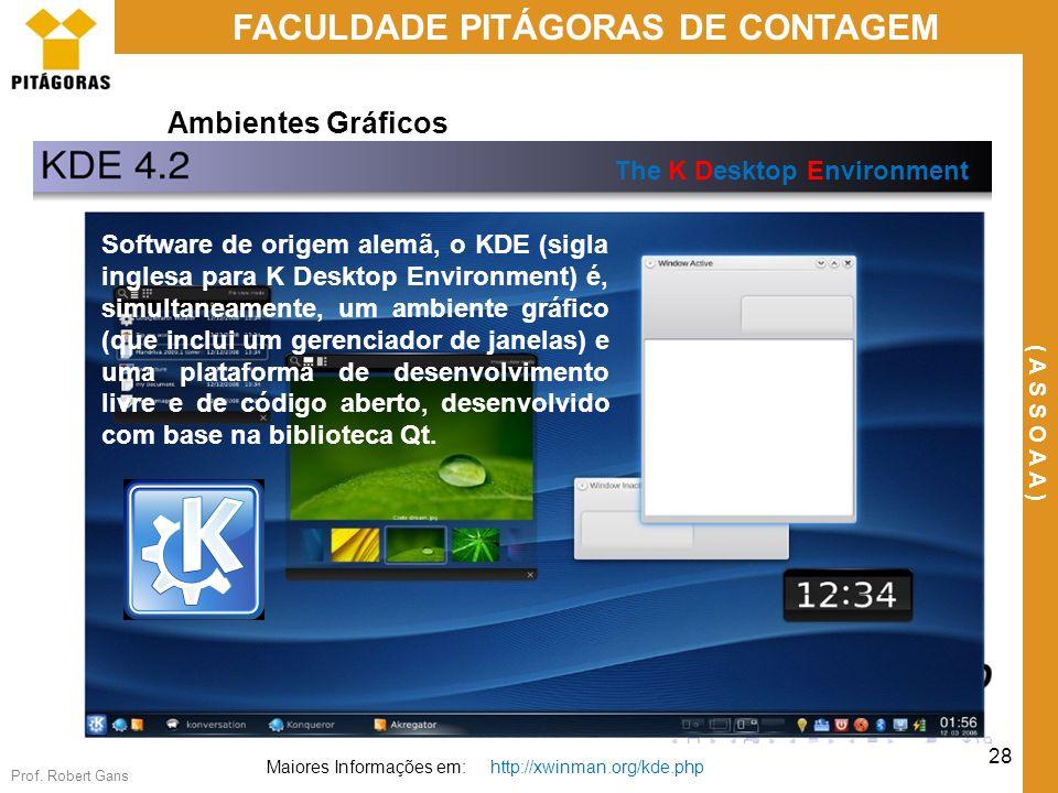 Prof. Robert Gans 28 FACULDADE PITÁGORAS DE CONTAGEM ( A S S O A A ) Ambientes Gráficos The K Desktop Environment Maiores Informações em: http://xwinm
