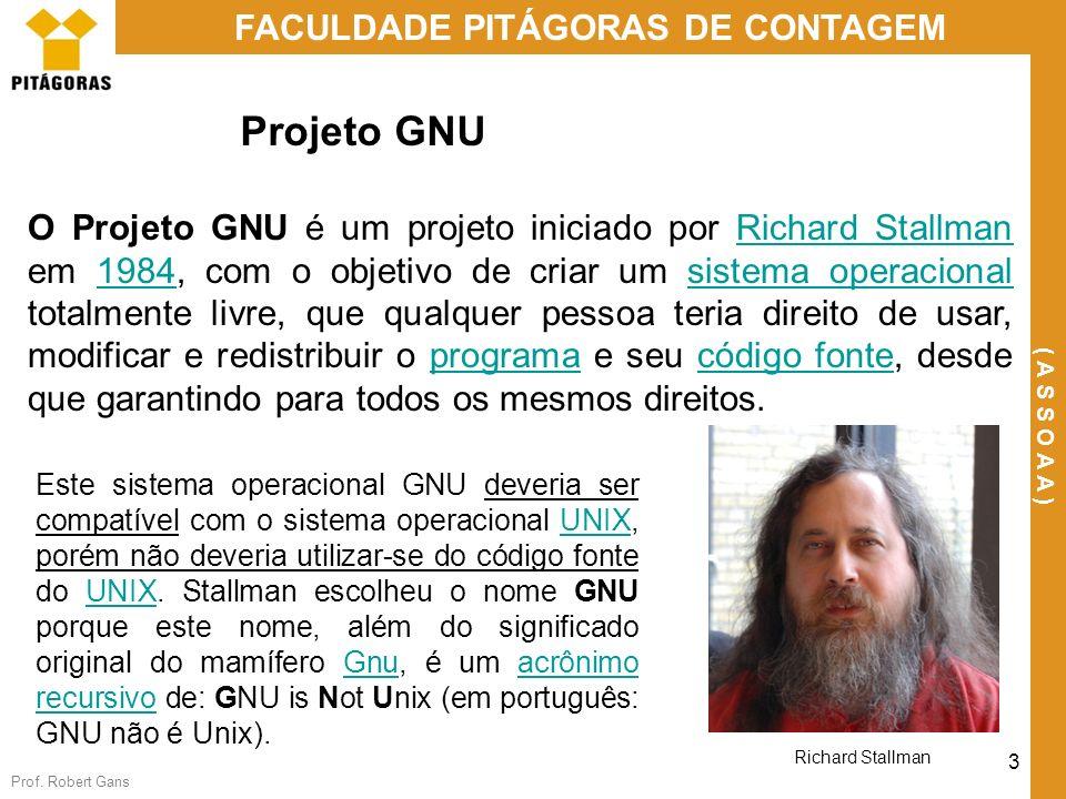 Prof. Robert Gans 3 FACULDADE PITÁGORAS DE CONTAGEM ( A S S O A A ) Projeto GNU O Projeto GNU é um projeto iniciado por Richard Stallman em 1984, com