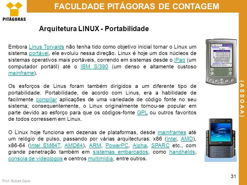 Prof. Robert Gans 31 FACULDADE PITÁGORAS DE CONTAGEM ( A S S O A A ) Arquitetura LINUX - Portabilidade Embora Linus Torvalds não tenha tido como objet