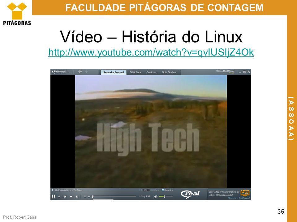 Prof. Robert Gans 35 FACULDADE PITÁGORAS DE CONTAGEM ( A S S O A A ) Vídeo – História do Linux http://www.youtube.com/watch?v=qvIUSIjZ4Ok http://www.y