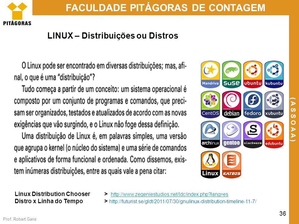 Prof. Robert Gans 36 FACULDADE PITÁGORAS DE CONTAGEM ( A S S O A A ) LINUX – Distribuições ou Distros Linux Distribution Chooser > http://www.zegenies