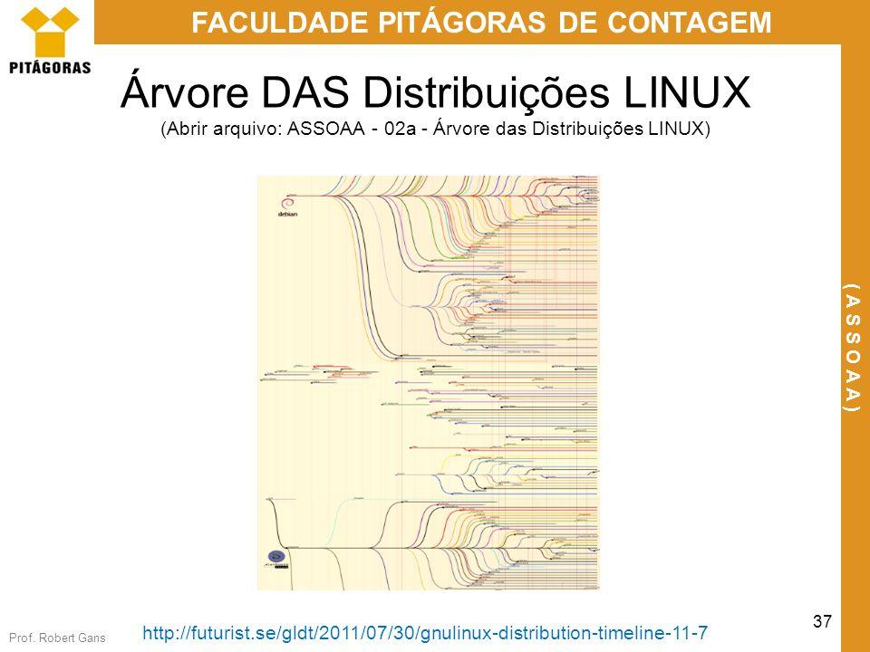 Prof. Robert Gans 37 FACULDADE PITÁGORAS DE CONTAGEM ( A S S O A A ) Árvore DAS Distribuições LINUX (Abrir arquivo: ASSOAA - 02a - Árvore das Distribu