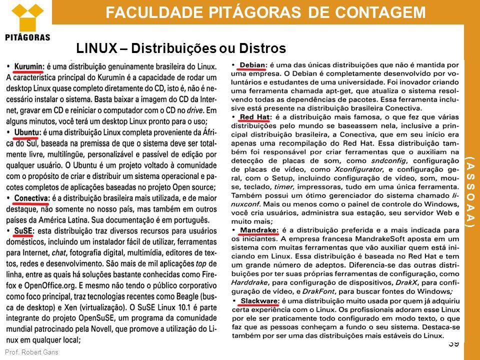 Prof. Robert Gans 39 FACULDADE PITÁGORAS DE CONTAGEM ( A S S O A A ) LINUX – Distribuições ou Distros