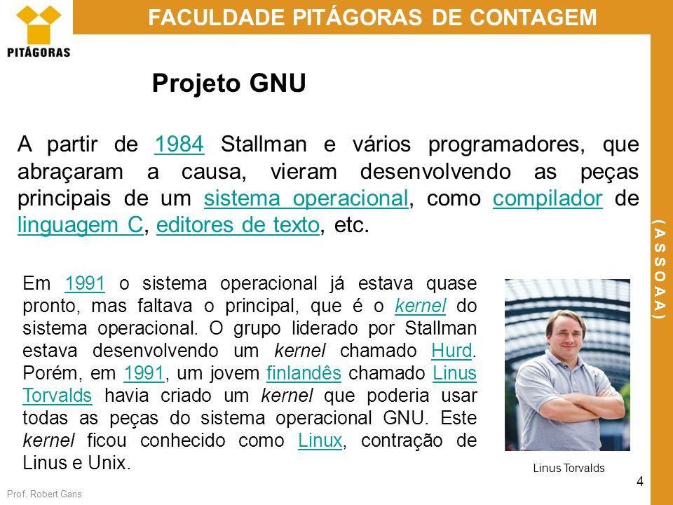 Prof. Robert Gans 4 FACULDADE PITÁGORAS DE CONTAGEM ( A S S O A A ) Projeto GNU A partir de 1984 Stallman e vários programadores, que abraçaram a caus