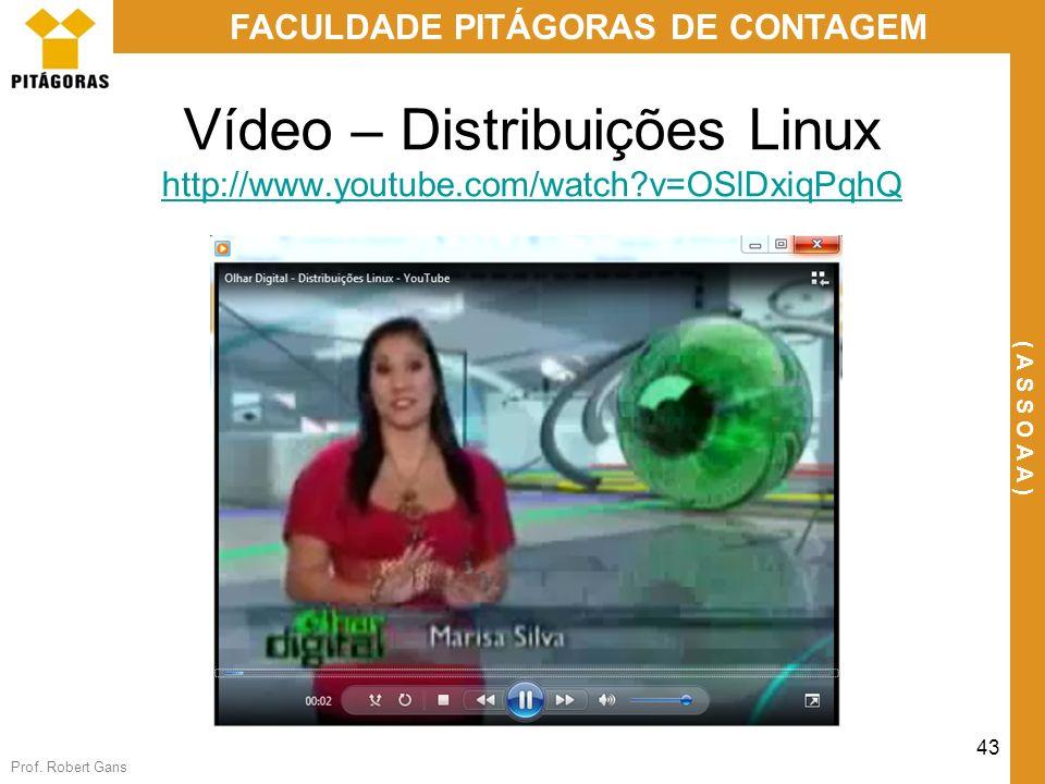 Prof. Robert Gans 43 FACULDADE PITÁGORAS DE CONTAGEM ( A S S O A A ) Vídeo – Distribuições Linux http://www.youtube.com/watch?v=OSlDxiqPqhQ http://www