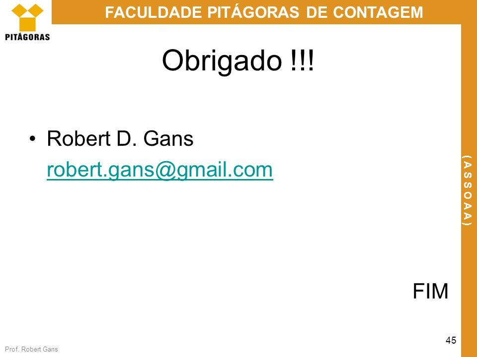 Prof. Robert Gans 45 FACULDADE PITÁGORAS DE CONTAGEM ( A S S O A A ) Obrigado !!! Robert D. Gans robert.gans@gmail.com FIM