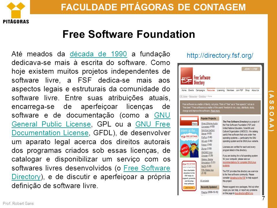 Prof. Robert Gans 7 FACULDADE PITÁGORAS DE CONTAGEM ( A S S O A A ) Free Software Foundation Até meados da década de 1990 a fundação dedicava-se mais