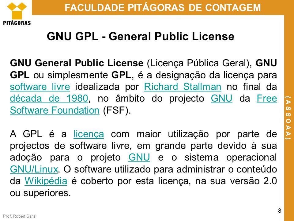 Prof. Robert Gans 8 FACULDADE PITÁGORAS DE CONTAGEM ( A S S O A A ) GNU GPL - General Public License GNU General Public License (Licença Pública Geral