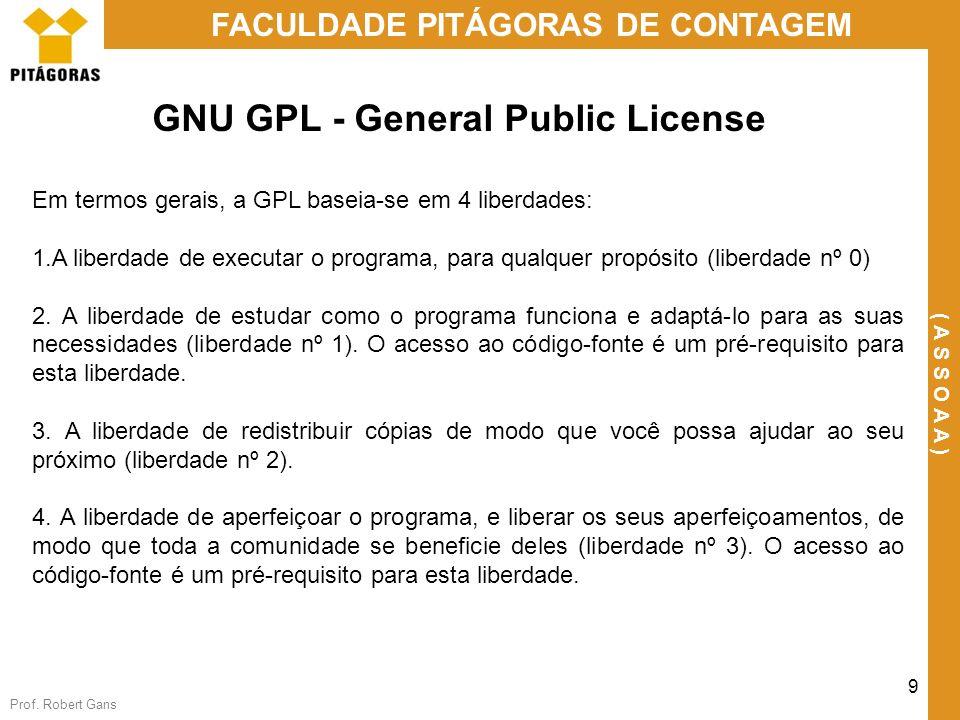 Prof. Robert Gans 9 FACULDADE PITÁGORAS DE CONTAGEM ( A S S O A A ) GNU GPL - General Public License Em termos gerais, a GPL baseia-se em 4 liberdades