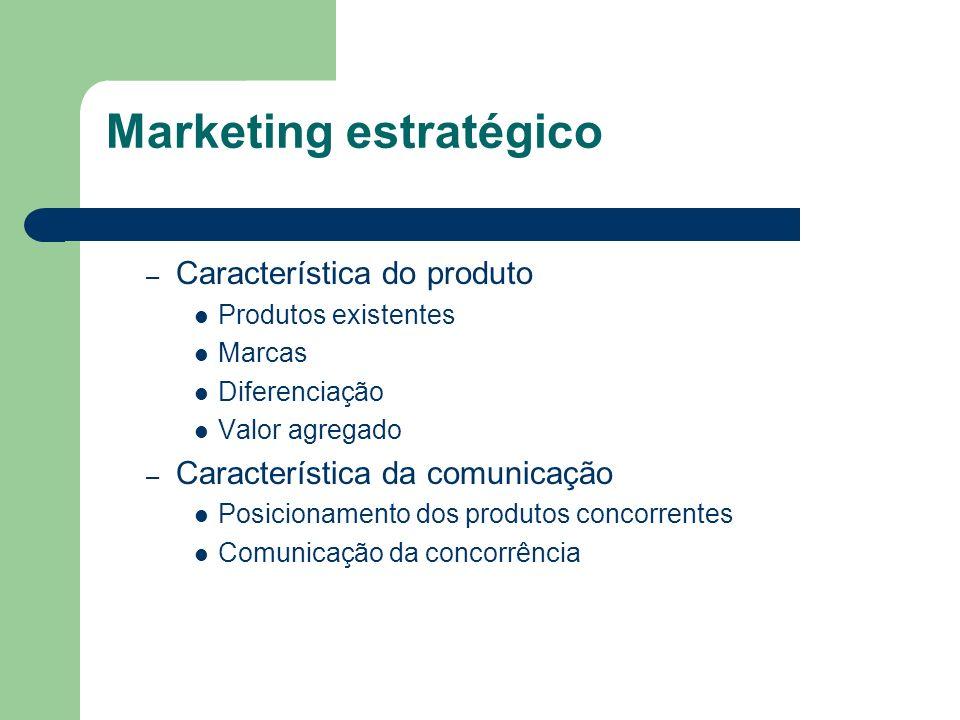 – Característica do produto Produtos existentes Marcas Diferenciação Valor agregado – Característica da comunicação Posicionamento dos produtos concor