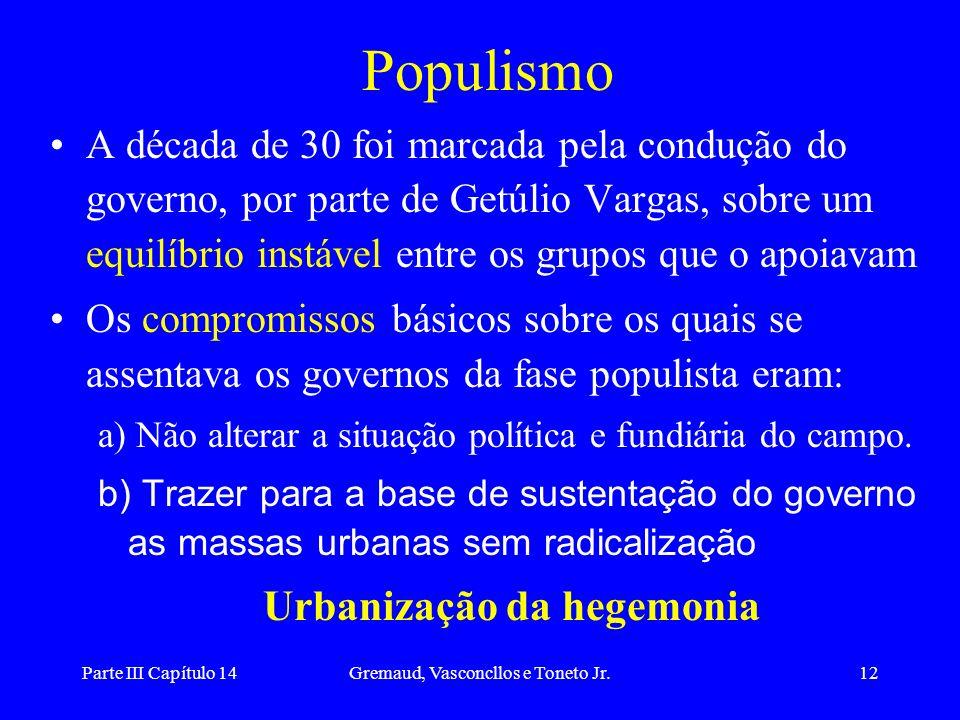 Parte III Capítulo 14Gremaud, Vasconcllos e Toneto Jr.12 Populismo A década de 30 foi marcada pela condução do governo, por parte de Getúlio Vargas, s