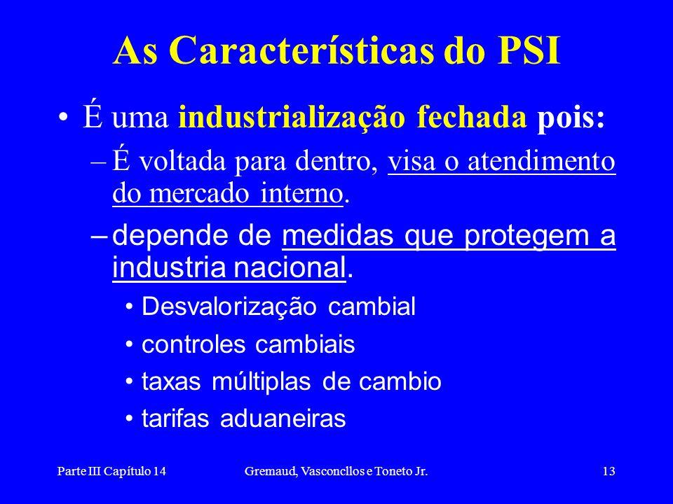 Parte III Capítulo 14Gremaud, Vasconcllos e Toneto Jr.14 O PSI: a seqüência lógica 1Inicio com um estrangulamento externo gerando escassez de divisas; 2o governo tenta controlar a crise por meio de medidas que dificultam as importações e acabam por proteger a indústria nacional.