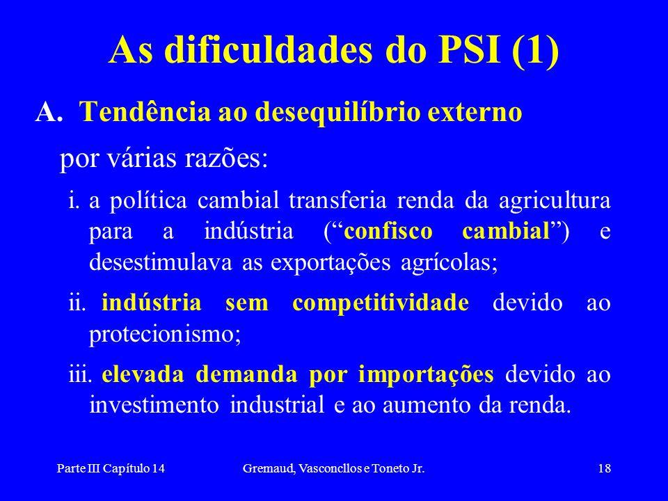 Parte III Capítulo 14Gremaud, Vasconcllos e Toneto Jr.18 As dificuldades do PSI (1) A. Tendência ao desequilíbrio externo por várias razões: i.a polít
