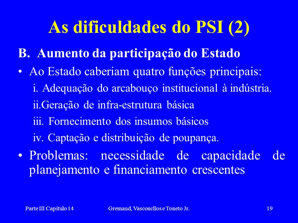 Parte III Capítulo 14Gremaud, Vasconcllos e Toneto Jr.19 As dificuldades do PSI (2) B. Aumento da participação do Estado Ao Estado caberiam quatro fun