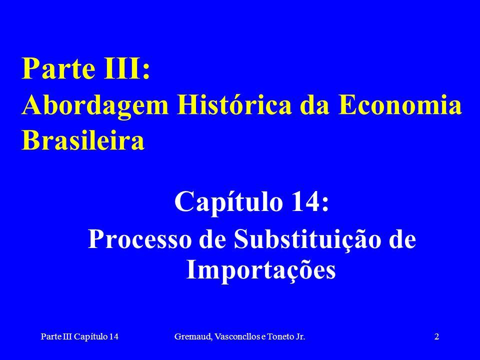 Parte III Capítulo 14Gremaud, Vasconcllos e Toneto Jr.2 Parte III: Abordagem Histórica da Economia Brasileira Capítulo 14: Processo de Substituição de