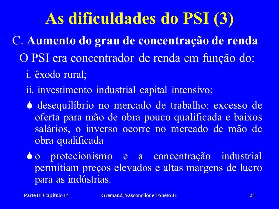 Parte III Capítulo 14Gremaud, Vasconcllos e Toneto Jr.21 As dificuldades do PSI (3) C. Aumento do grau de concentração de renda O PSI era concentrador