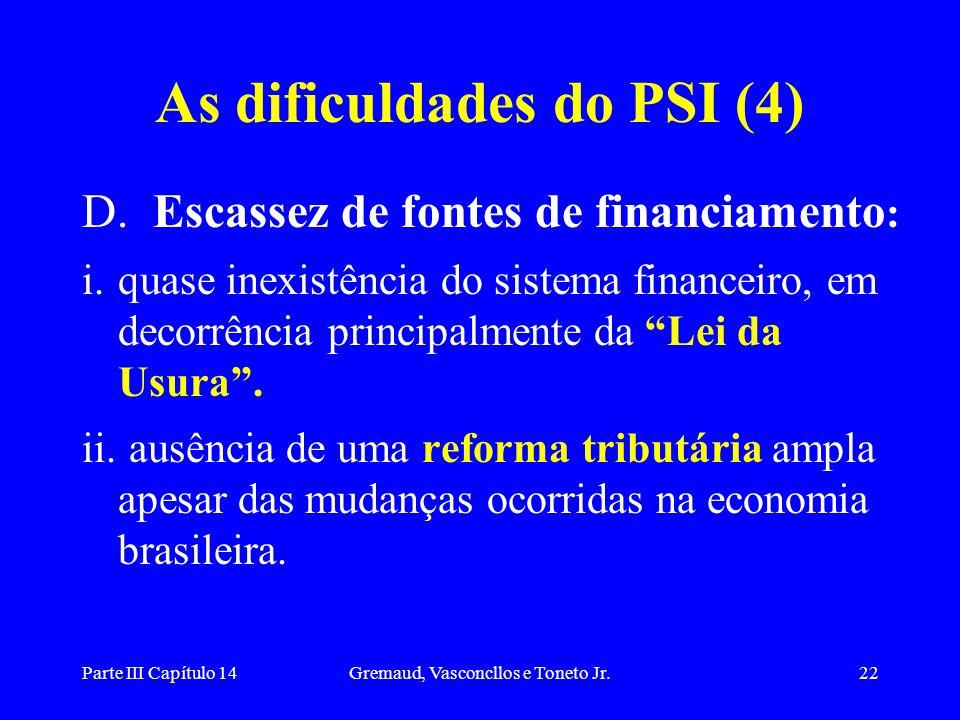 Parte III Capítulo 14Gremaud, Vasconcllos e Toneto Jr.22 As dificuldades do PSI (4) D. Escassez de fontes de financiamento : i.quase inexistência do s